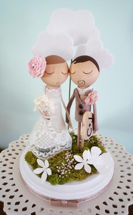 photo figurine gateau mariage retro