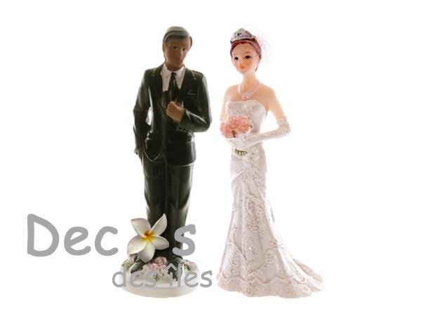 photo figurine gateau mariage+homme noir femme blanche