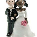 Figurine gateau mariage+homme noir femme blanche