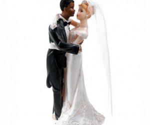Figurine gateau de mariage couple mixte