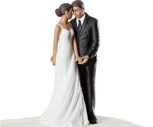 Figurine gateau mariage couple noir