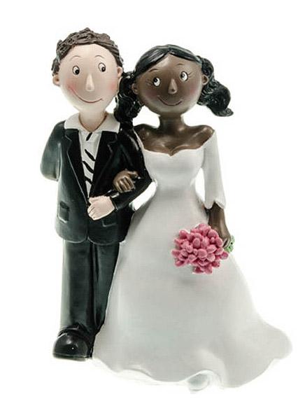 Figurine pour gateau mariage couple mixte
