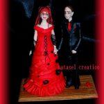 Figurine gateau mariage robe rouge