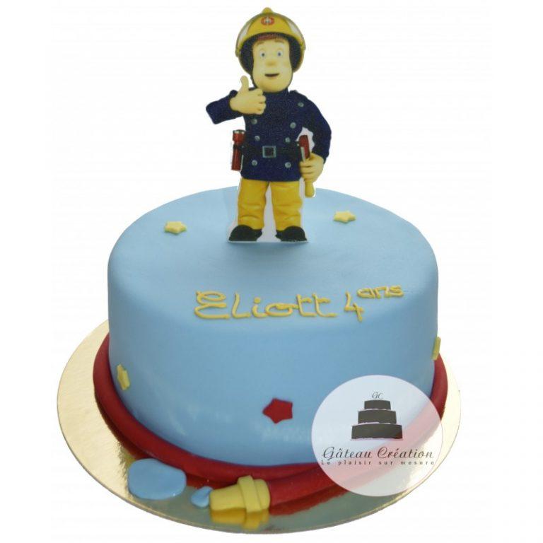 photo décoration gateau anniversaire pompier
