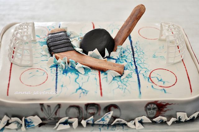 Décoration gateau hockey sur glace